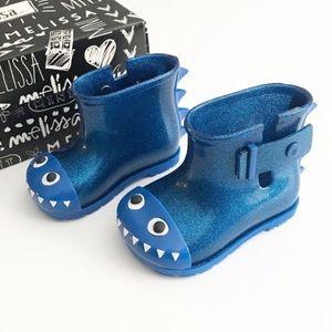 NWT! Mini Melissa blue sparkly rain boots